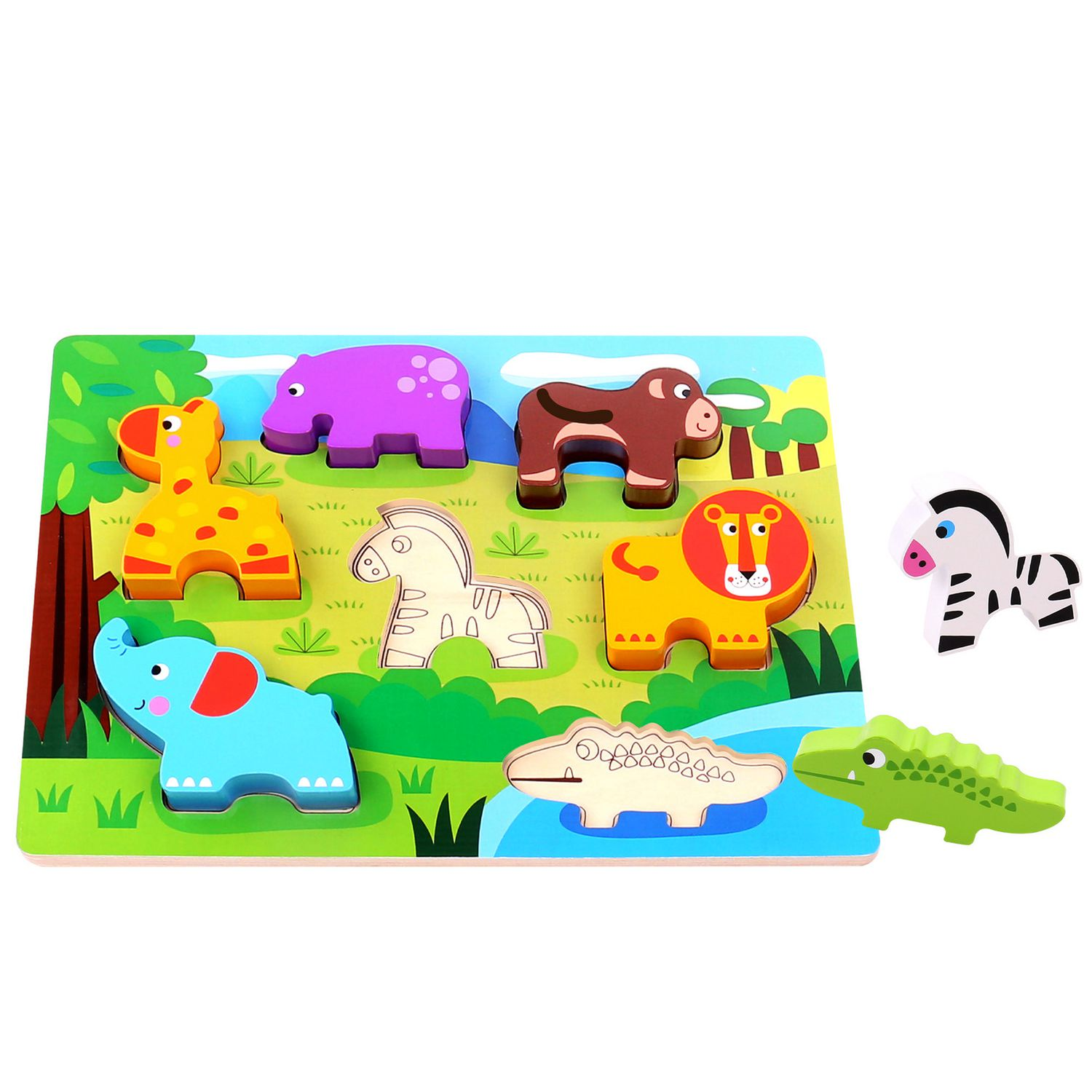 Tooky Toys Wooden Chunky Zoo Jungle Animal Puzzle
