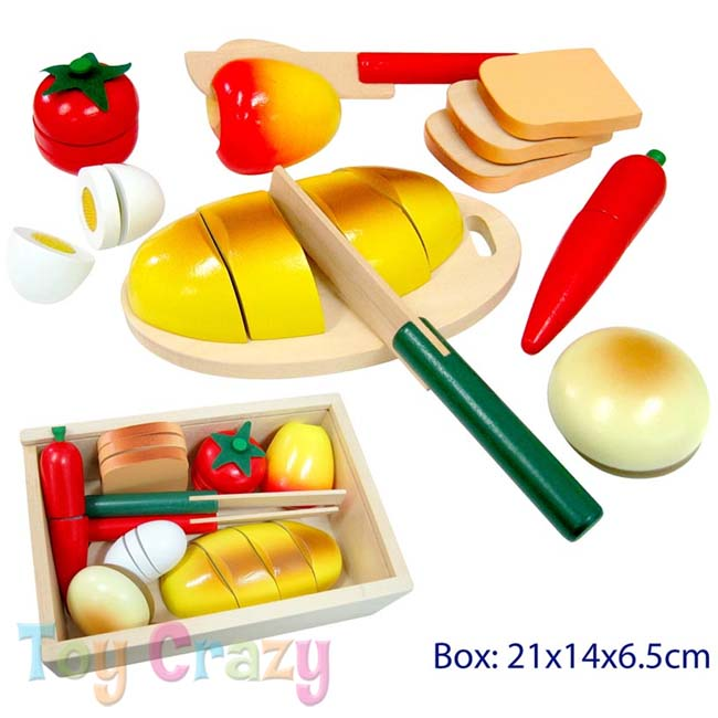 Fun Factory Wooden Cutting Picnic Food Bread Playset