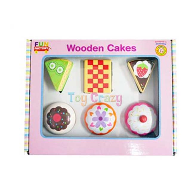 Fun Factory Pretend Play Food 6 Piece Wooden Cakes Play Set