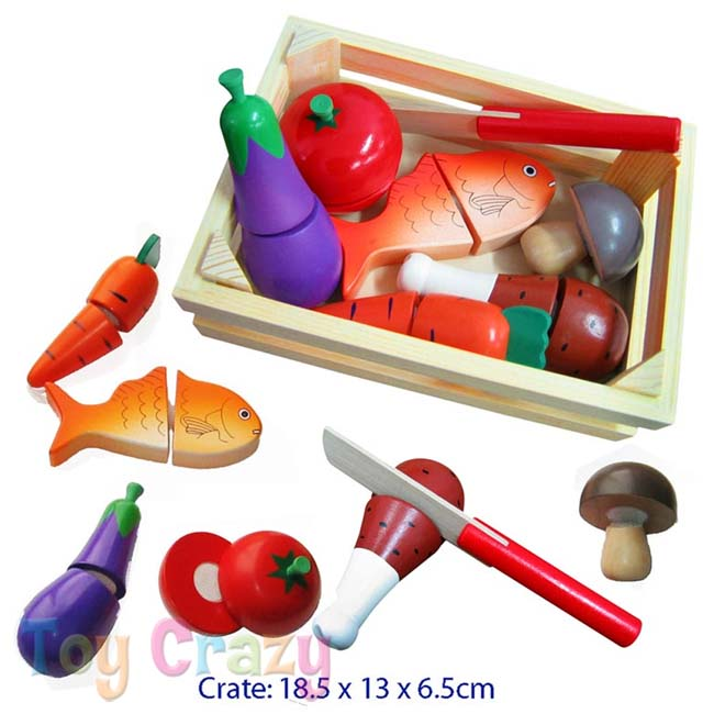 Fun Factory Wooden Cutting Food Playset with Knife in Crate