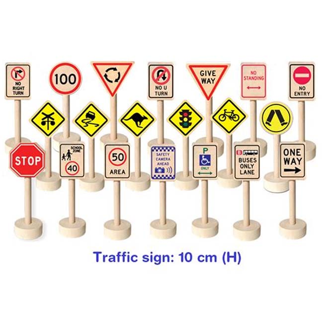 Fun Factory 20 Pce Wooden Australian Theme Traffic Sign Playset