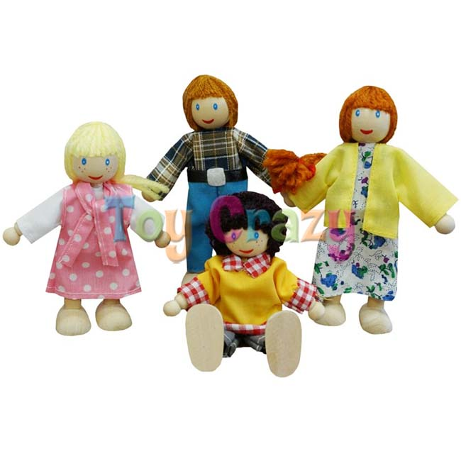 Fun Factory Wooden Dollhouse Poseable White Family Dolls