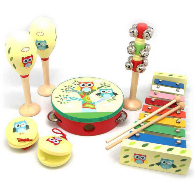 Kaper Kidz Wooden 7 Piece Owl Theme Musical Instrument Toy Set