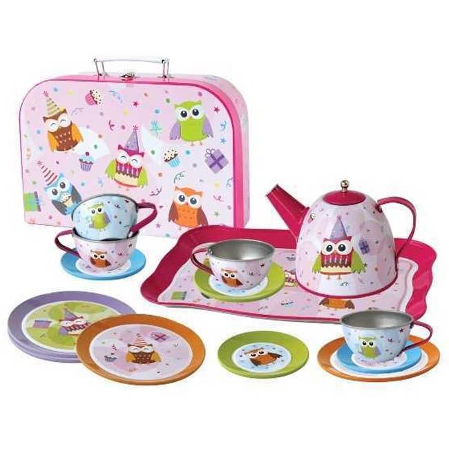 Kaper Kidz Owl Design Mini Tin Tea Set in Carry Case