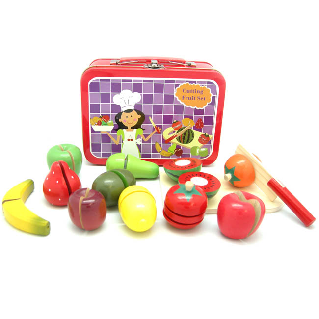 Kaper Kidz Wooden Cutting Fruit Play Set in Tin Carry Case