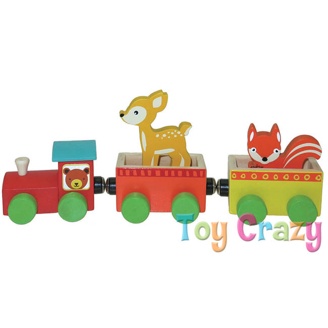 Kaper Kidz Wooden Forest Animal Magnetic Train Set Deer