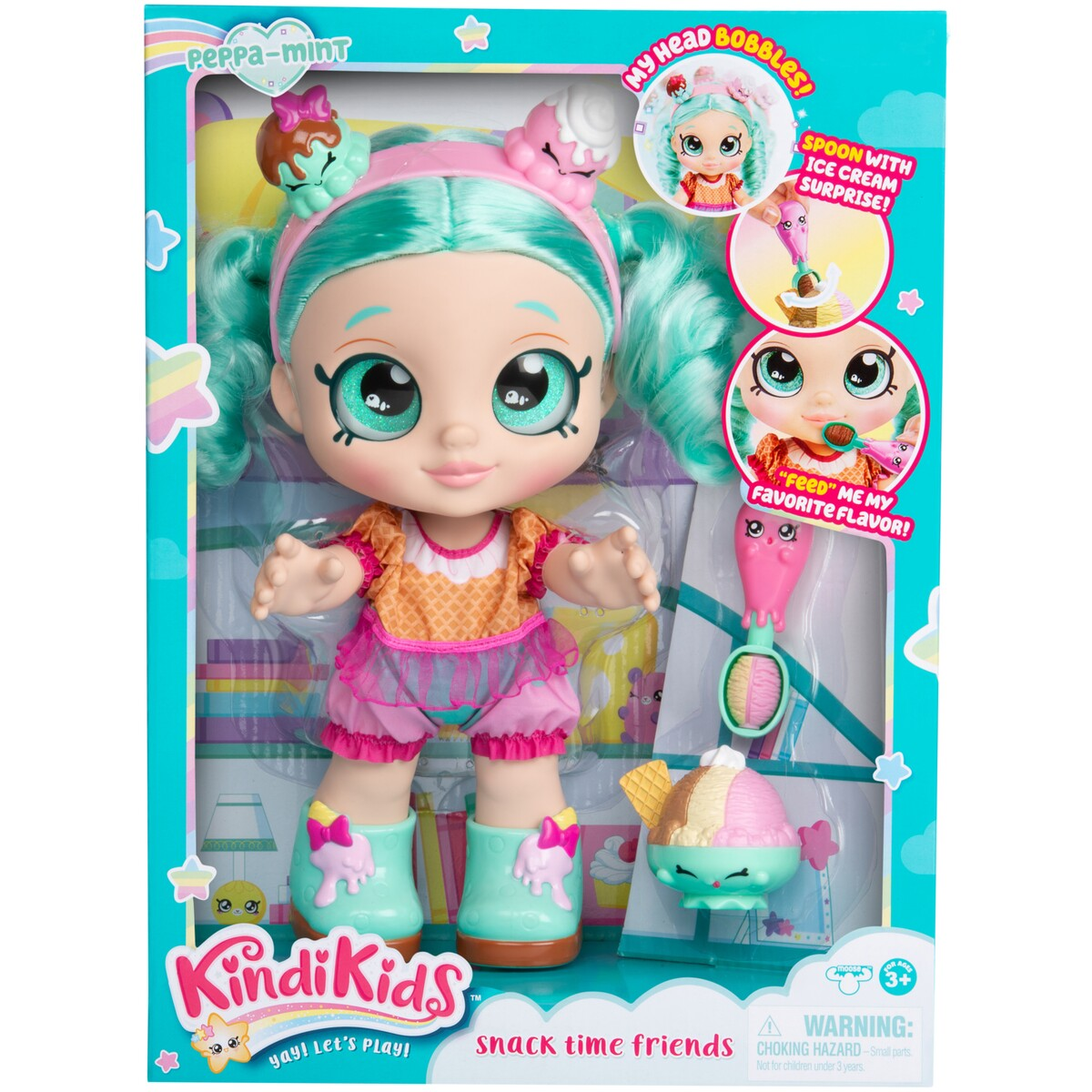 Kindi Kids Snack Time Friends Toddler Peppa-Mint Doll