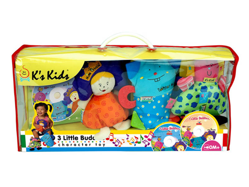 K's Kids - 3 Little Buddies Soft Character Toys with CD and DVD - Click Image to Close