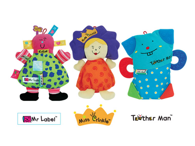 K's Kids - 3 Little Buddies Soft Character Toys with CD and DVD