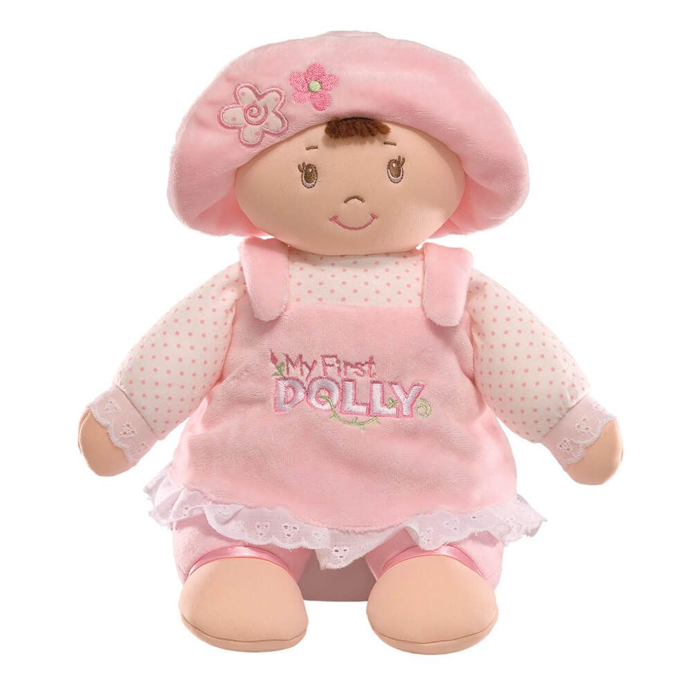 Baby Gund My First Dolly Soft Plush Baby Doll Brunette Hair