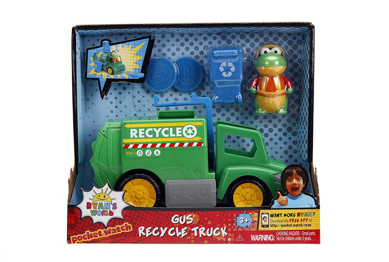 Ryan's World Recycling Truck with Gus The Gummy Gator Figure