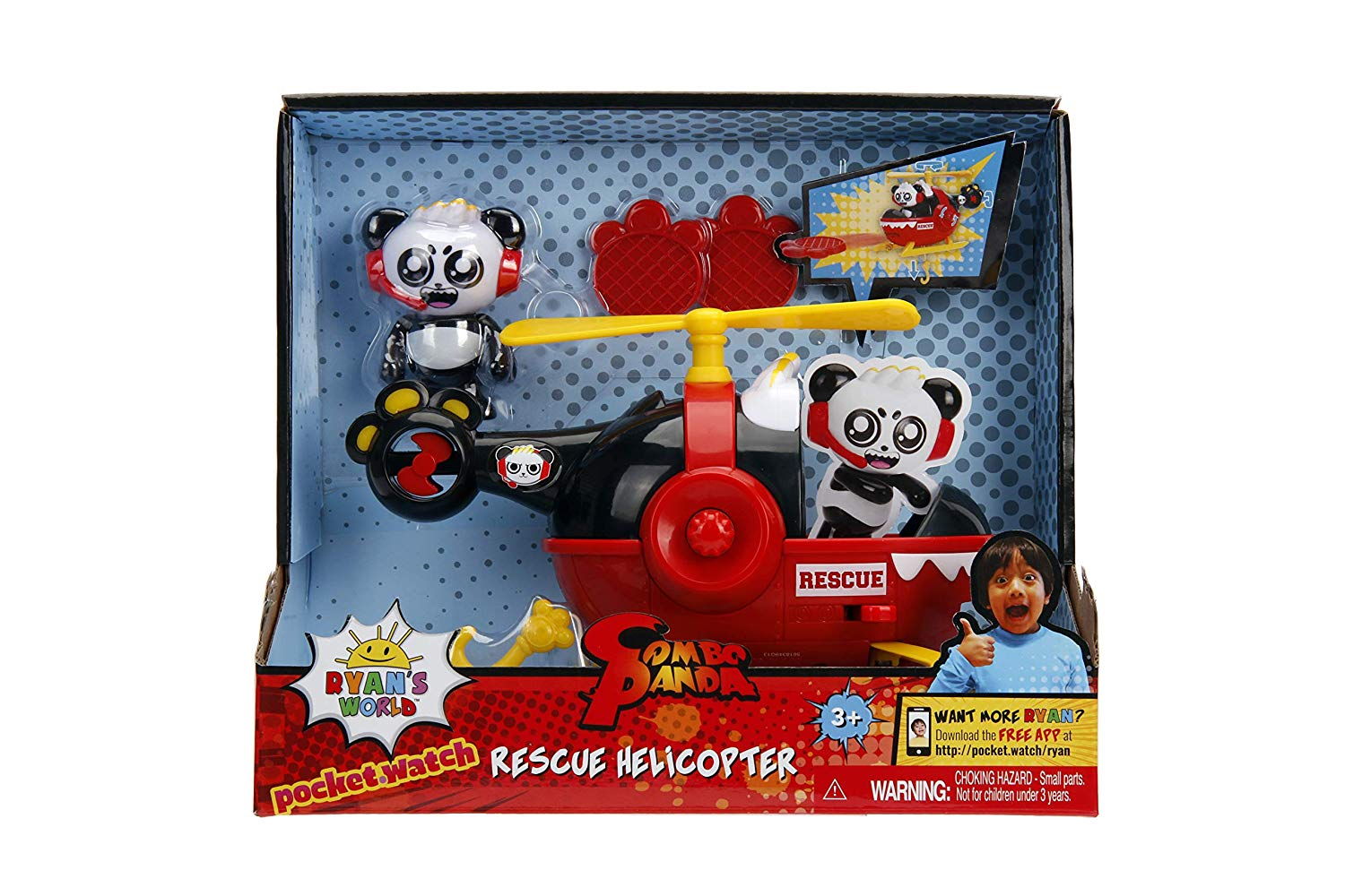 Ryan's World Combo Panda Rescue Helicopter Play Set
