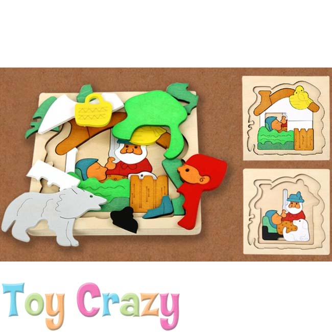 Wooden Multi Layer Jigsaw Puzzle Little Red Riding Hood Theme