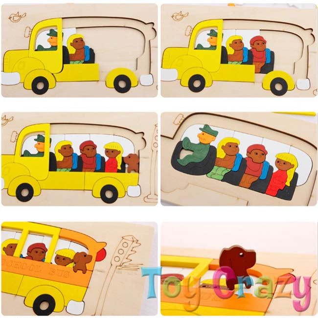 Wooden Multi Layer Jigsaw Puzzle School Bus Theme - Click Image to Close