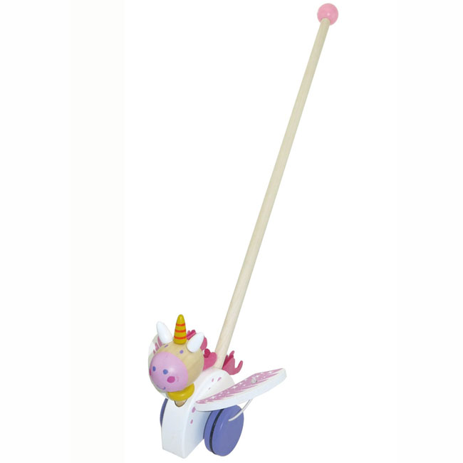 Kaper Kidz Wooden Push Along Unicorn Toy