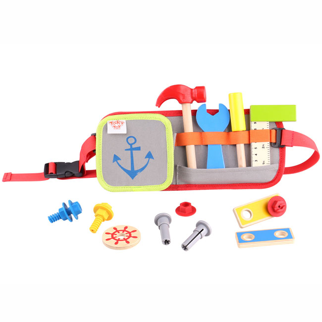 Tooky Toy Wooden Toy Tool Belt Pretend Play